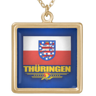 Thuringen (Thuringia) Flag Gold Plated Necklace