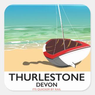 Thurlestone South Devon travel poster Square Sticker