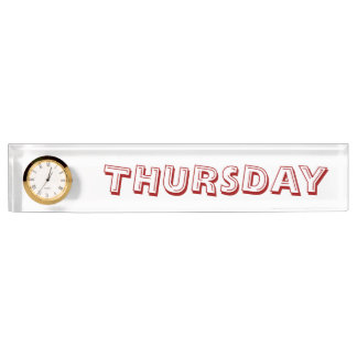 Thursday Desk Nameplate with Clock