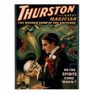 Thurston's, 'Do the spirits come back?' Retro Thea Postcard