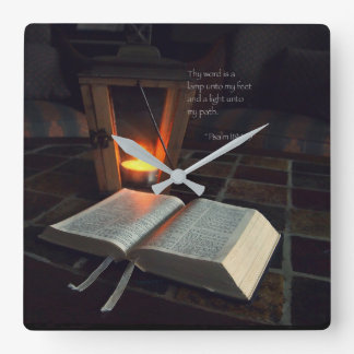 Thy word is a lamp... square wall clock