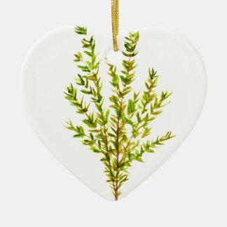 Thyme herbs Botanical herb Ceramic Heart Ornament