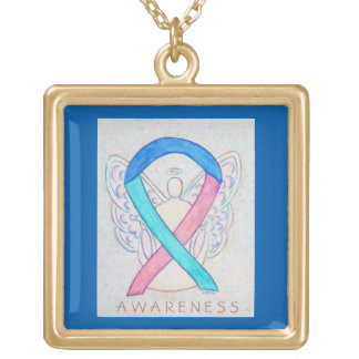 Thyroid Cancer Awareness Ribbon Jewelry Necklace