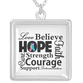 Thyroid Cancer Collage of Hope Square Pendant Necklace