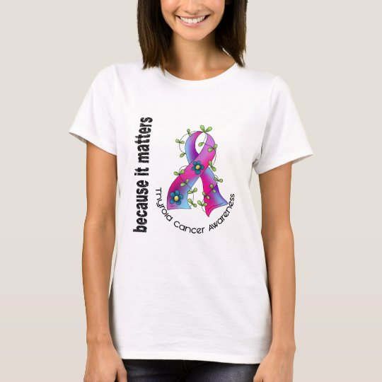 Thyroid Cancer Flower Ribbon 3 T-Shirt