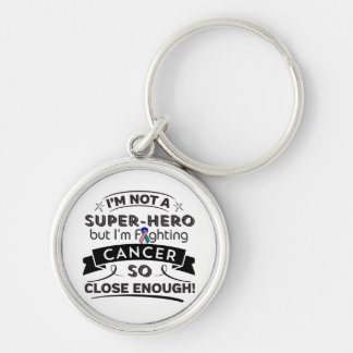 Thyroid Cancer Not a Super-Hero Silver-Colored Round Keychain