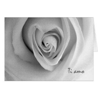 Ti Amo, I Love You in Italian, Heart Shaped Rose Card