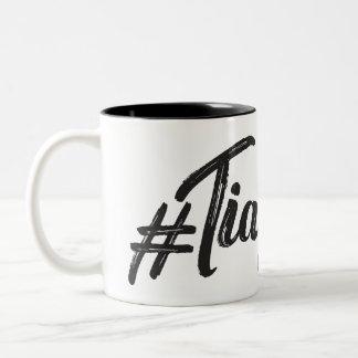 #TiaGoals, Grunge modern script Two-Tone Coffee Mug