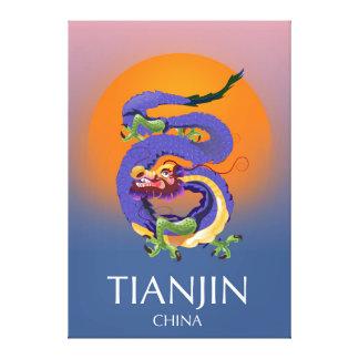 Tianjin China Dragon travel poster Canvas Print