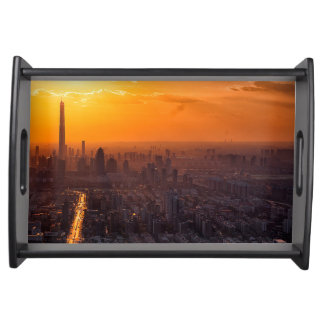 Tianjin City at Sunset Serving Tray