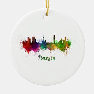 Tianjin skyline in watercolor ceramic ornament