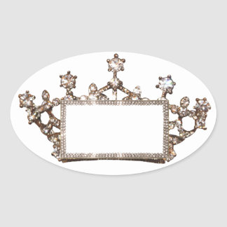 Tiara and Crown Labels to Personalize Oval Sticker