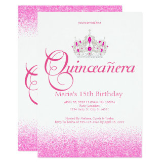 Tiara, crown, Pink Quinceañera Invitations
