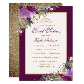 Tiara Glitter Amethyst Purple Floral Sweet Sixteen Card