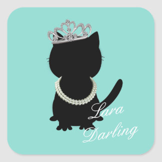 Tiara Party Tiffany Cat Shower Blue Party Stickers