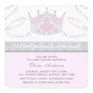 Tiara Pink Gray Princess Baby Shower Card