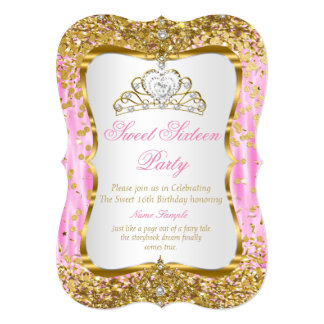 Tiara Princess Sweet 16 Pink Gold White Invite