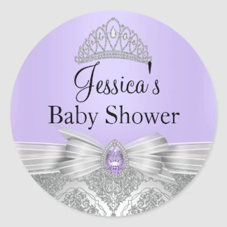 Tiara & Silver Damask Purple Baby Shower Sticker
