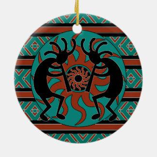 Tibal Sun Turquoise Kokopelli Southwest Round Ceramic Ornament
