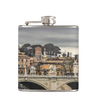 Tiber River Rome Cityscape Hip Flask
