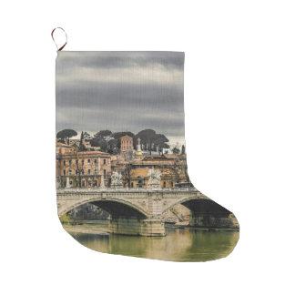 Tiber River Rome Cityscape Large Christmas Stocking
