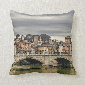 Tiber River Rome Cityscape Throw Pillow