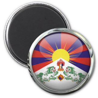 Tibet Flag Round Glass Ball Magnet