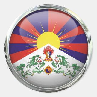 Tibet Flag Round Glass Ball Round Sticker