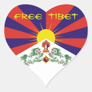 Tibet/Tibetan Flag. Free Tibet Heart Sticker
