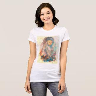 Tibet Woman: Earthtone Front, Blue digitized Rear T-Shirt