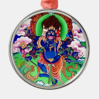 Tibetan Buddhism Buddhist Thangka Ucchusma Silver-Colored Round Ornament