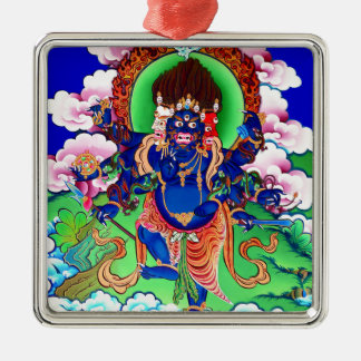 Tibetan Buddhism Buddhist Thangka Ucchusma Silver-Colored Square Ornament