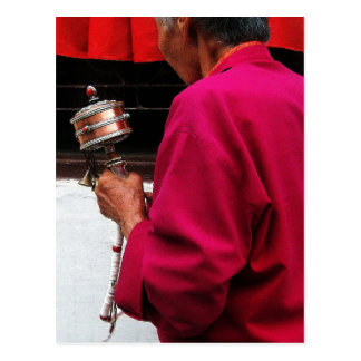 Tibetan Buddhist Nun with Prayer Wheel Postcard