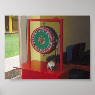 Tibetan Drum and Conch Print