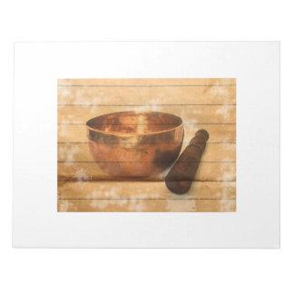 Tibetan earthen bowl, singing bowl notepad