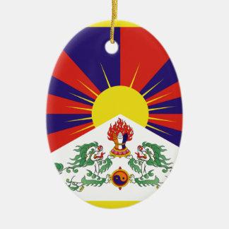 Tibetan Free Tibet Flag - Peu Rangzen བོད་རང་བཙན་ Ceramic Oval Ornament