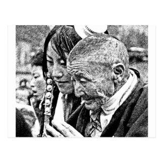 Tibetan Girl with Grandmother Postcard