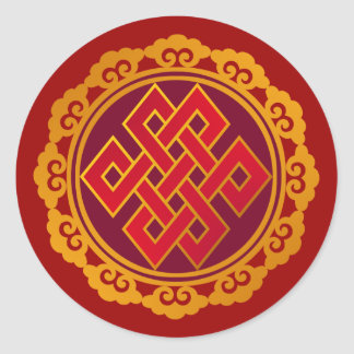 Tibetan Karma Buddhism Eternal Knot Round Sticker