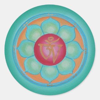 Tibetan Lotus Mandala Classic Round Sticker