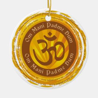 Tibetan Mantra Aum Symbol Round Ceramic Ornament