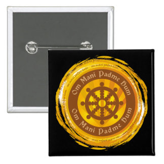 Tibetan Mantra Dharma Wheel Pinback Button