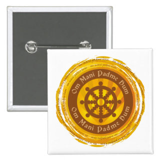 Tibetan Mantra Dharma Wheel Pin