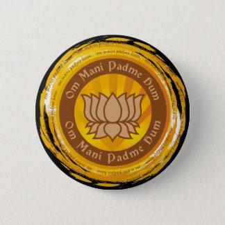 Tibetan Mantra Lotus Flower 2 Inch Round Button