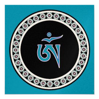 Tibetan Om Symbol in Jewel Ring Card