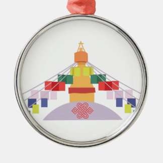 Tibetan Prayer Flags Silver-Colored Round Ornament