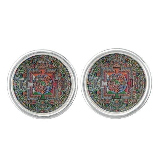 Tibetan Sand Mandala Cufflinks