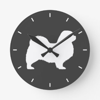 Tibetan Spaniel Silhouette Round Clock