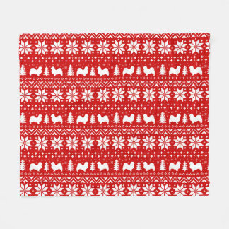 Tibetan Spaniel Silhouettes Christmas Pattern Fleece Blanket