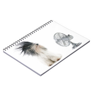 Tibetan terrier and his fan spiral note book