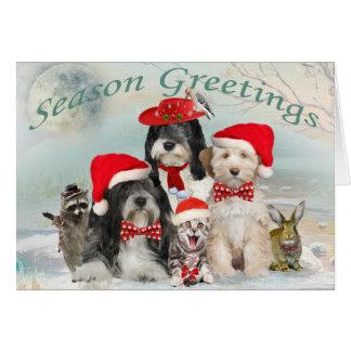 Tibetan Terrier  Christmas With Friends Card